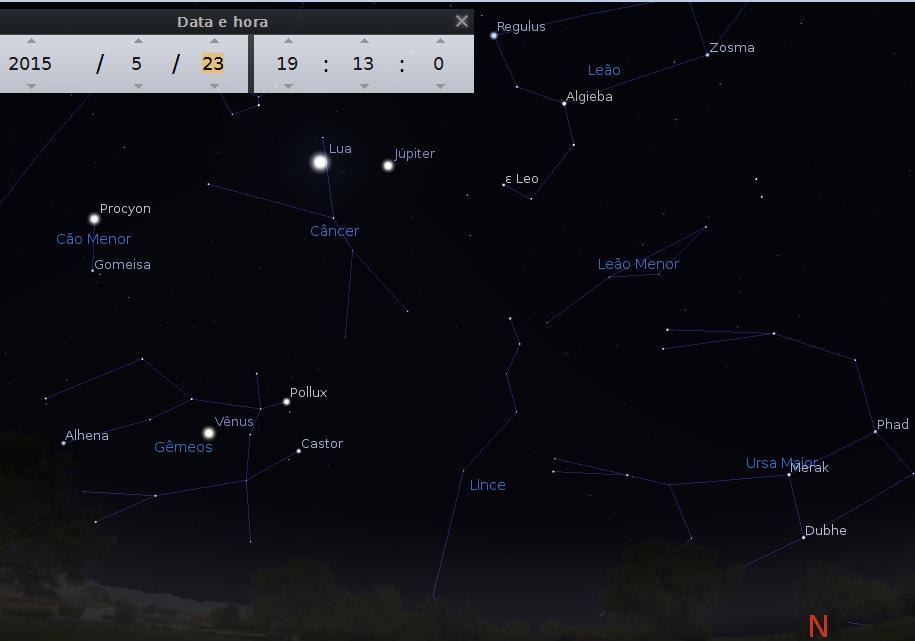 lua com luz cinéria