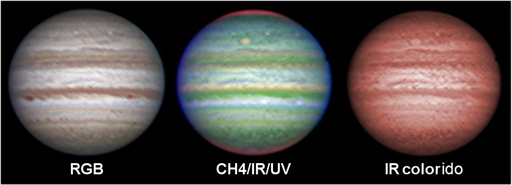 Júpiter em três tipos de cores