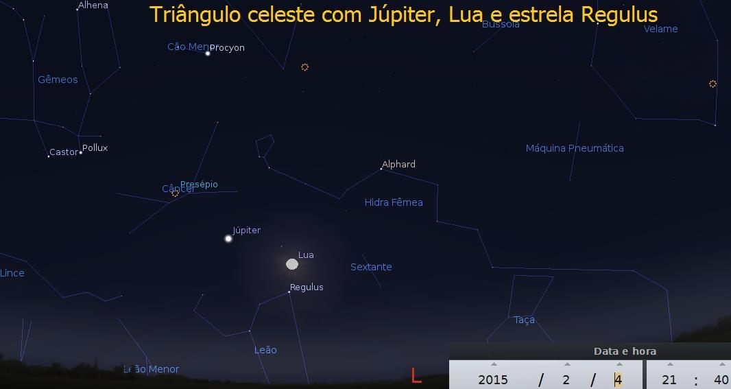 triangulo celeste com lua e júpiter