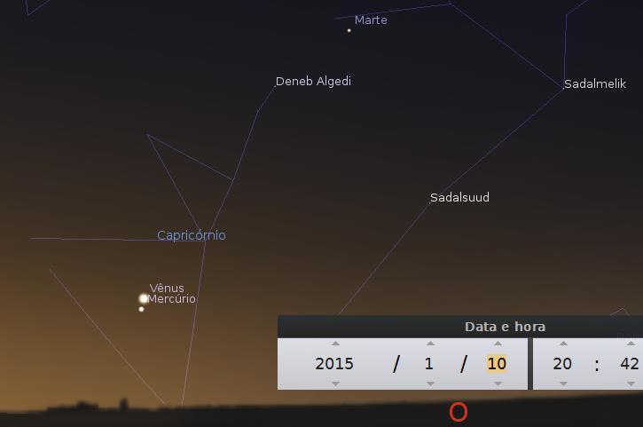 Posição de Mercúrio no céu em janeiro
