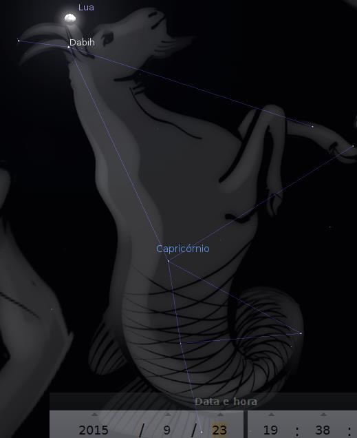 Lua na constelação de Capricórnio
