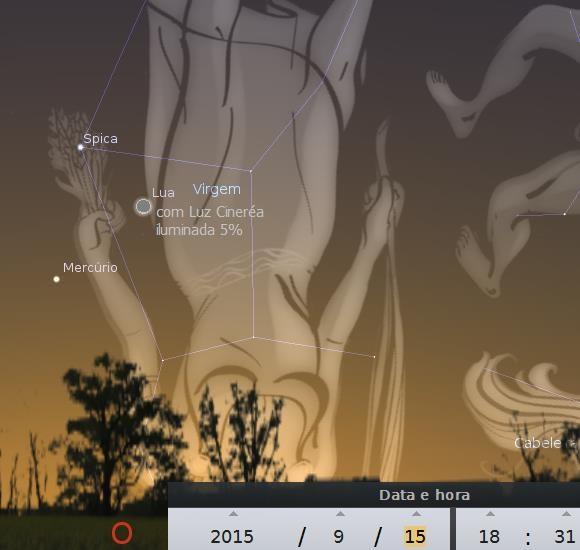 triângulo celeste entre lua, mercúrio e estrela